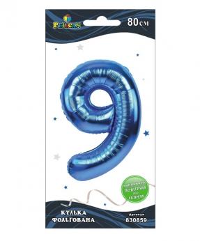 """Купить Цифра фольг. Pelican, """"9"""" синяя 80см, (индивидуальная упак.)"""