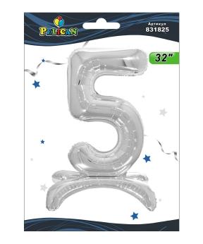 """Купить Цифра на подставке Pelican, """"5"""" серебро 80см, (индивидуальная упак.)"""