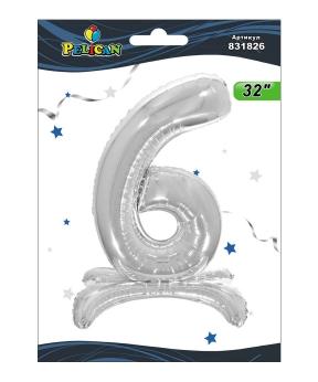 """Купить Цифра на подставке Pelican, """"6"""" серебро 80см, (индивидуальная упак.)"""