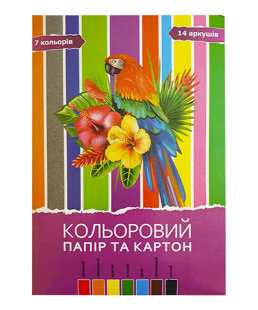 Цветная бумага+ картон 14 листов, 7 цветов