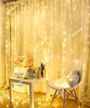 Купить Штора  200 LED 5м*0,6м, прозор/провід  2,2мм, білий теплий (статичний режим) (40)