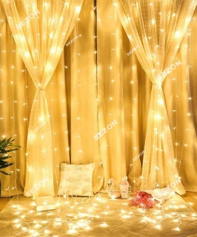 Купить Штора  600 LED 3м*3м, прозор/провід  2,2мм, білий теплий (статичний режим) (20)