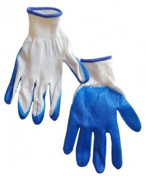 Купить Перчатки стрейчевые с синим  покрытием 23гр, вампирки