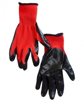 Купить Рукавиці стрейчеві червоні з чорним нітріловим покриттям, 35гр