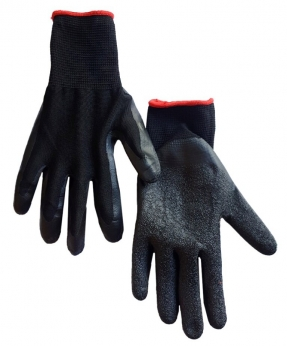 Купить Рукавиці стрейч-піна чорна, з  чорним латексним покриттям