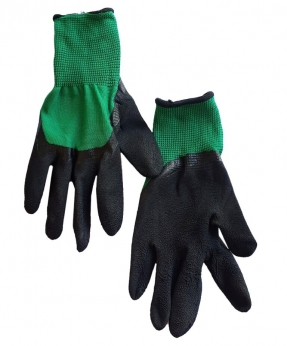 Купить Рукавиці стрейч-піна зелена, з  чорним латексним покриттям