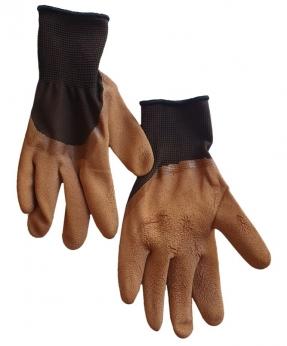Купить Рукавиці стрейч-піна чорна, з  коричневим латексним покриттям