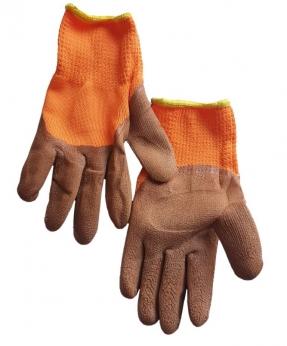 Купить Рукавиці утеплені, трикотаж-піна помаранчева з коричневим латексним покриттям