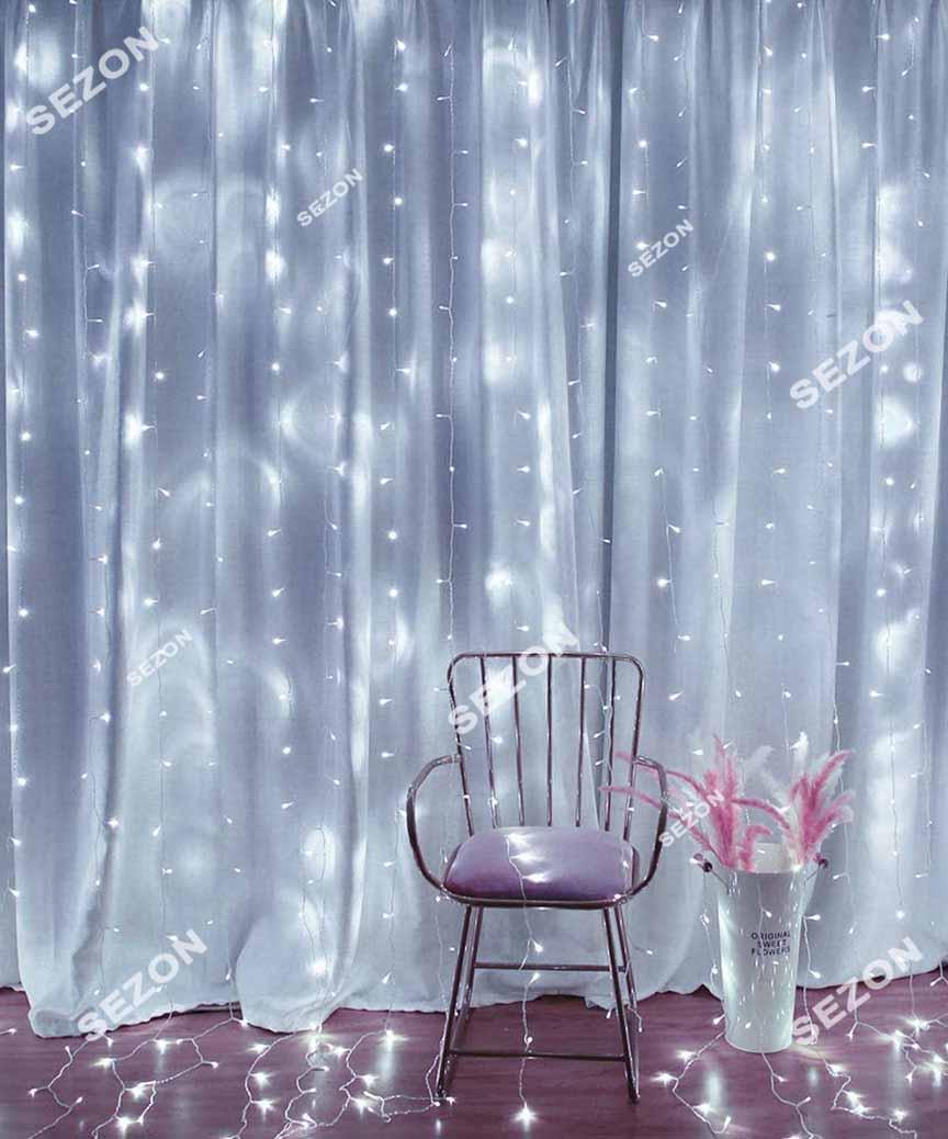 Штора 180 LED 1,8м*1,5м, прозор/провід  2,2мм, білий  (статичний режим)