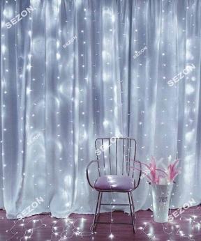 Купить Штора  200 LED 5м*0,6м, прозор/провід  2,2мм, білий  (статичний режим)