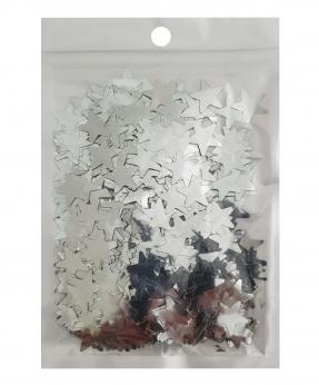 Купить Конфетти звездочки 15мм серебро 6202, 15гр
