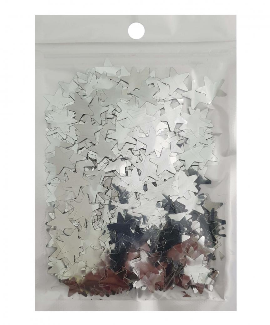 Конфетти звездочки 15мм серебро 6202, 15гр