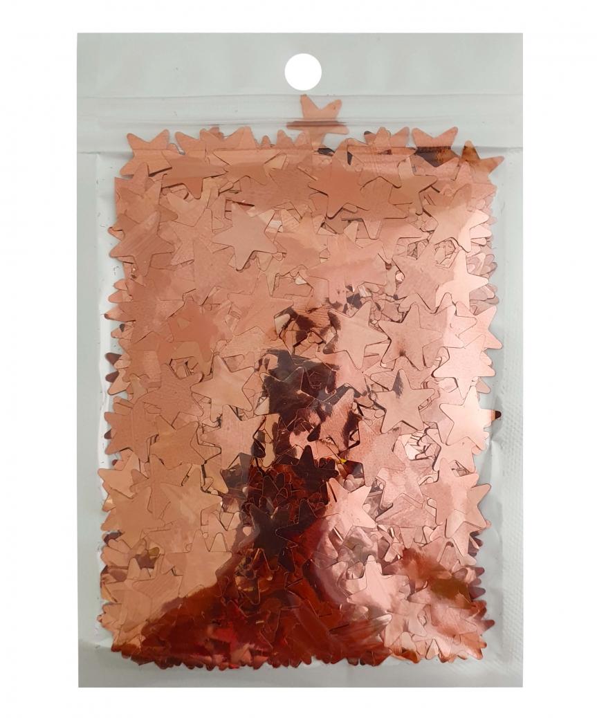 Конфетти звездочки 15мм розовое золото 6203, 15гр