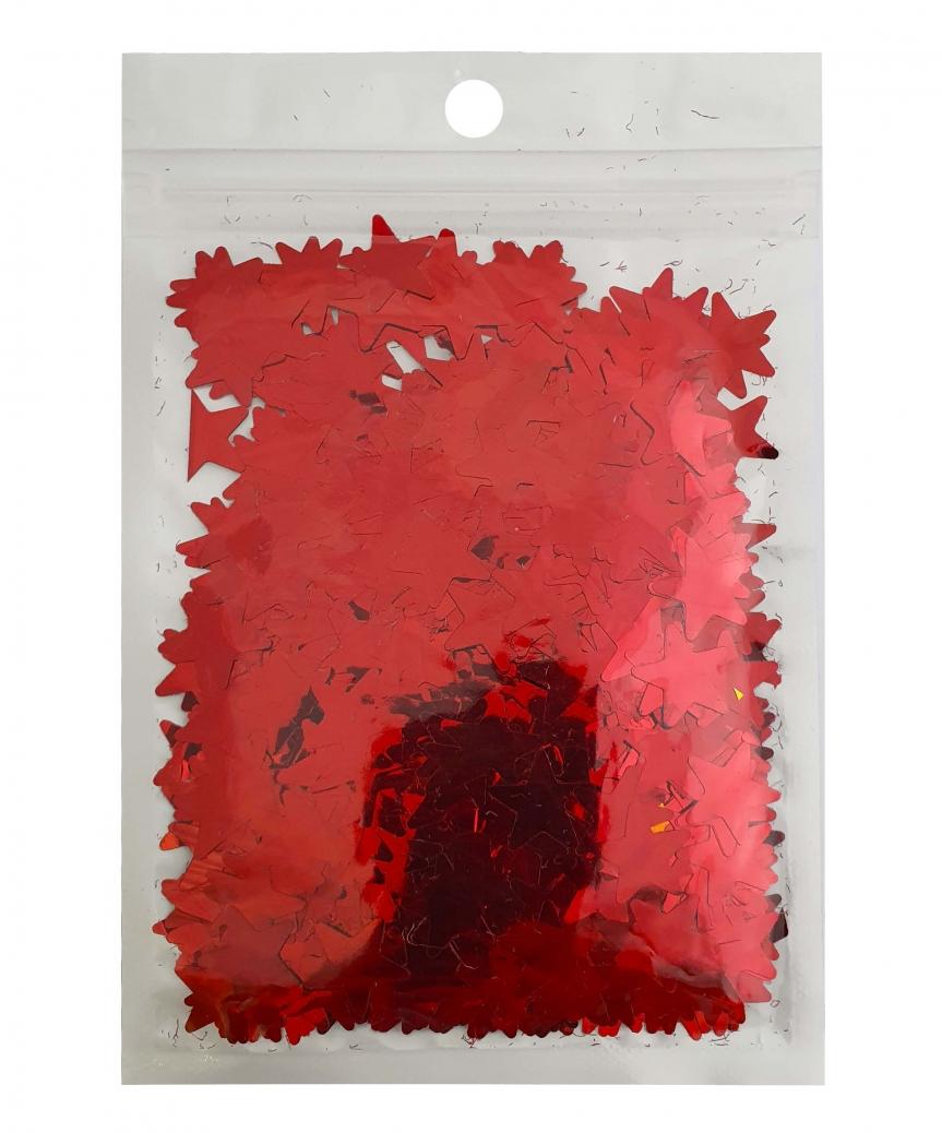 Конфетти звездочки 15мм красные 6204, 15гр