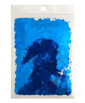 Купить Конфетти шестигранник 6мм синее 6305, 15гр