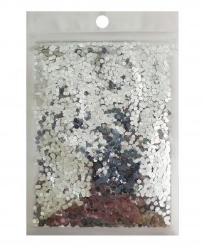 Купить Конфетти шестигранник 3мм серебро 6402, 15гр