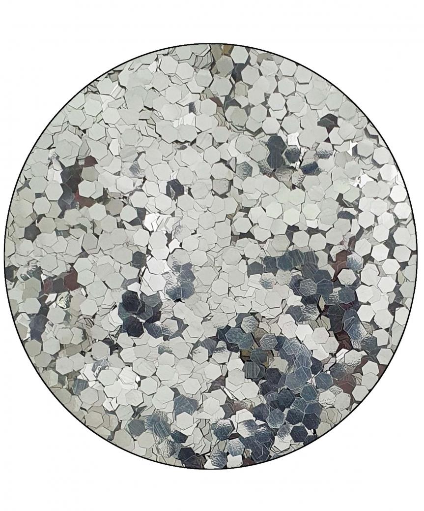Конфетти шестигранник 3мм серебро 6402, 15гр