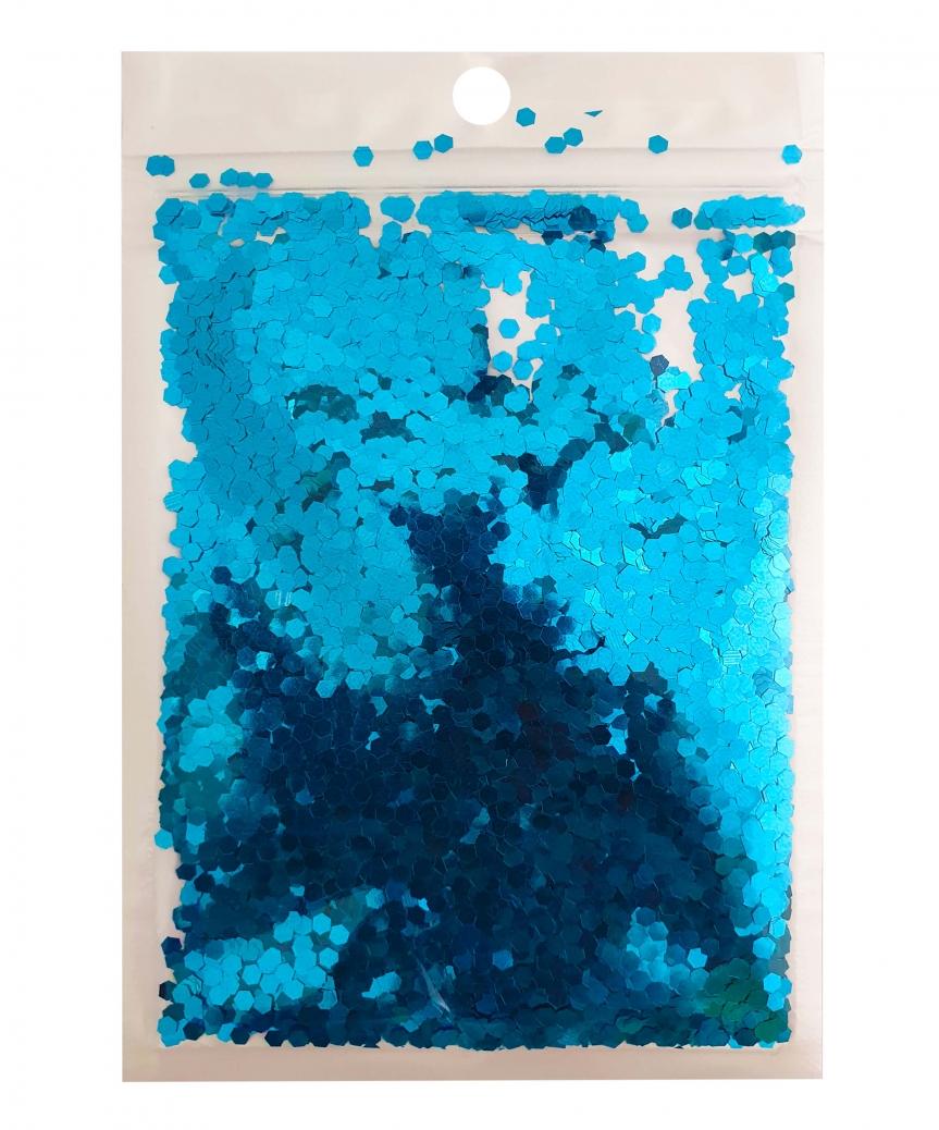 Конфетти шестигранник 3мм голубое 6404, 15гр