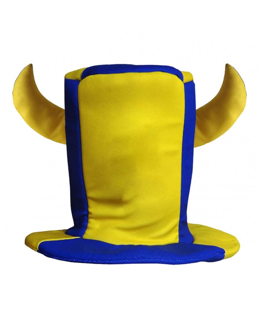 Шапка цилиндр с двумя рогами  сине-желтый LF-480