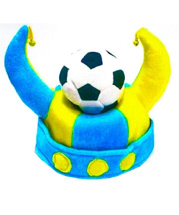 Шапка МЯЧ с рогами, сине-желтый LF500-2