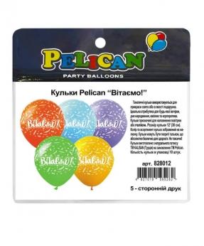 """Купить Шарики Pelican 12' (30 см)  """"Вітаємо!"""" 5-стор., 10шт/уп"""