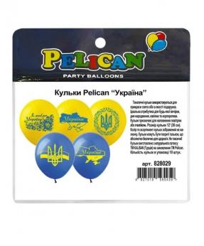 """Купить Шарики Pelican 12' (30 см)  """"УКРАЇНА"""" 1-стор., 10шт/уп"""
