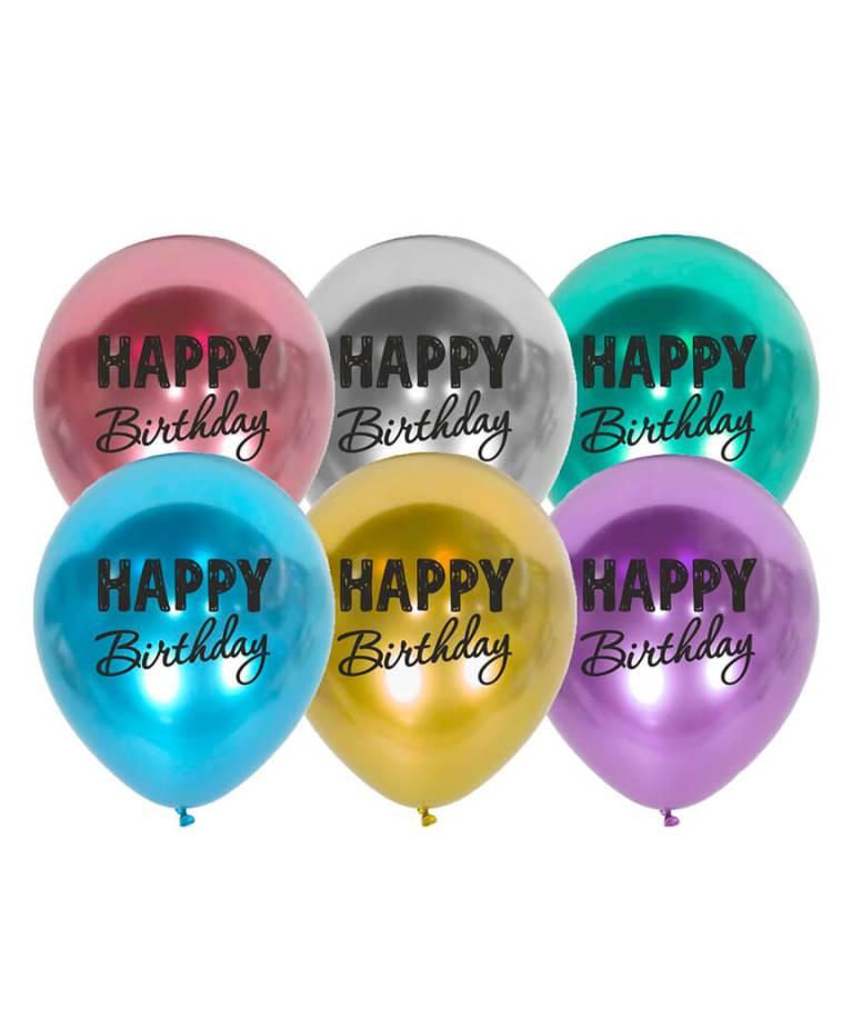"""Шарики Pelican 12' (30 см)  """"Happy birthday""""- хром 1-стор., 10шт/уп"""