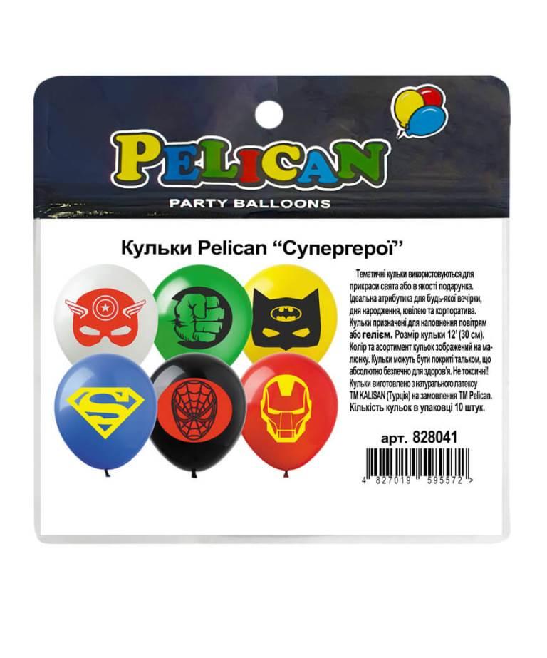 "Шарики Pelican 12' (30 см)  ""Супергерои"" 1-стор., 10шт/уп"