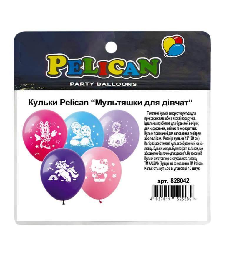 """Шарики Pelican 12' (30 см)  """"Мультяшки для девочек"""" 1-стор., 10шт/уп"""