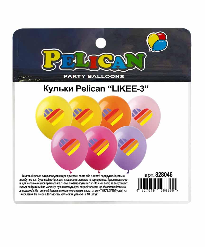"Шарики Pelican 12' (30 см)  ""LIKEE-3"" 4-цветные, 10шт/уп"