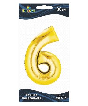 """Купить Цифра фольг. Pelican, """"6"""" золото 80см, (индивидуальная упак.)"""
