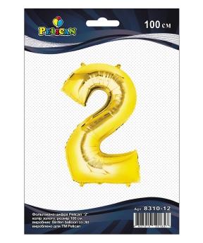 """Купить Цифра фольг. Pelican, """"2"""" золото 100см, (индивидуальная упак.)"""