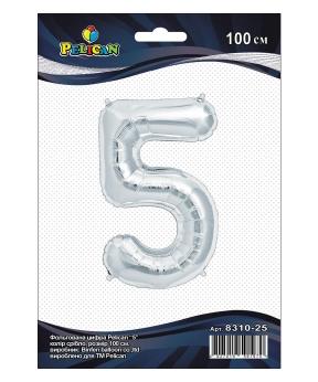 """Купить Цифра фольг. Pelican, """"5"""" серебро 100см, (индивидуальная упак.)"""