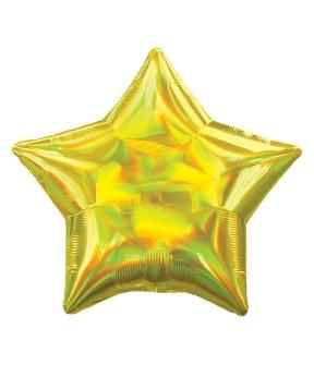 Купить Шар фольг. Pelican 18', звезда голограмма золото 45 см, (фасовка по 5шт)