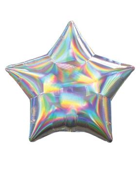 Купить Шар фольг. Pelican 18', звезда голограмма серебро 45 см, (фасовка по 5шт)