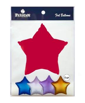 Купить Шар фольг. Pelican 18', звезда красная 45 см, (фасовка по 5шт)