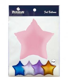 Купить Шар фольг. Pelican 10', звезда розовая 25 см, (фасовка по 5шт)