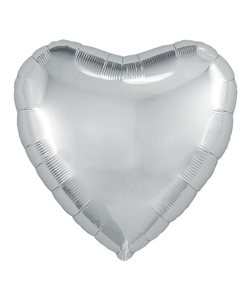Кулька фольг. Pelican 5', СЕРЦЕ СРІБЛО 12 см, (ціна за упак/5шт)
