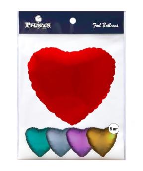 Купить Шар фольг. Pelican 18', сердце красное 45 см, (фасовка по 5шт)
