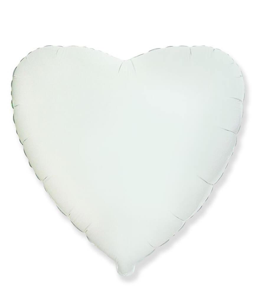 Кулька фольг. Pelican 18', СЕРЦЕ БІЛЕ 45 см, (ціна за упак/5шт)