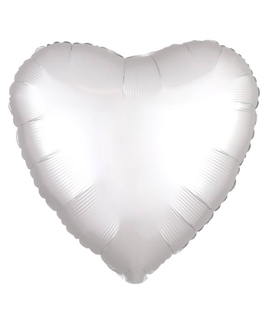 Кулька фольг. Pelican 18', СЕРЦЕ САТИН БІЛЕ 45 см, (ціна за упак/5шт)