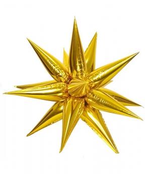Купить Шар фольг. Pelican 40'  звезда-колючка,  золото