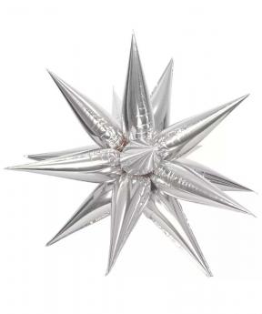 Купить Шар фольг. Pelican 40'  звезда-колючка,  серебро