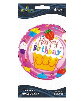 Купить Шар фольг. Pelican, Happy Birthday пироженко розовое, 45см (индивидуальная упак.)