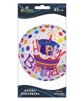 Купить Шар фольг. Pelican, Happy Birthday пирожное белый, 45см (индивидуальная упак.)