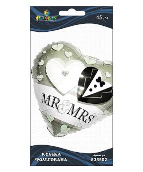 Купить Шар фольг. Pelican, сердце жених и невеста, 45см (индивидуальная упак.)
