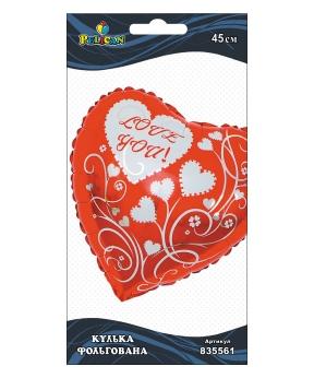Купить Шар фольг. Pelican, сердце красное I love you, ..см (индивидуальная упак.)
