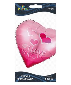Купить Шар фольг. Pelican, сердце розовое с сердечками I love you, ..см (индивидуальная упак.)