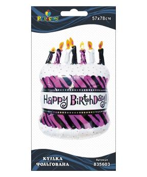 Купить Шар фольг. Pelican, торт со свечами, 78см (индивидуальная упак.)