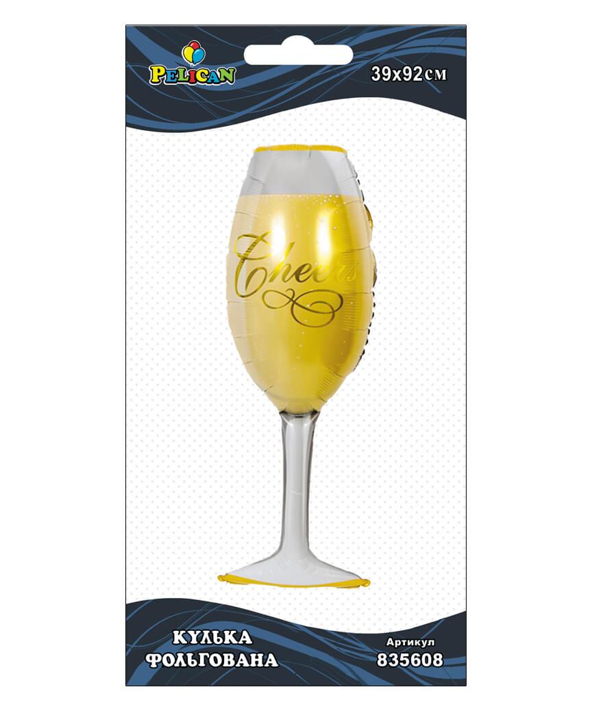 Шар фольг. Pelican, бокал шампанского, 92см (индивидуальная упак.)
